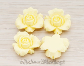 CBC200-01-MY // Milk Yellow Colored Narcissus Flower Flat Back Cabochon, 4 Pc