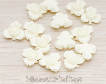 CBC200-02-IV // Ivory Colored Small Narcissus Flower Flat Back Cabochon, 4 Pc