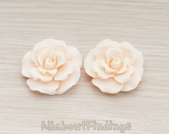 CBC157-LP // Light Pink Colored Ruffle Rose Flower Flat Back Cabochon, 2 Pc