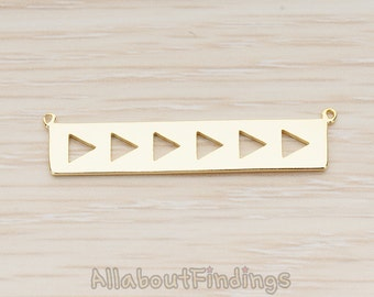 PDT1148-G // Glossy Gold Plated Geometric Triangle Bar Pendant, 2 Pc