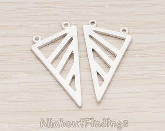 PDT1039-MR // Matte Original Rhodium Plated Geometric Triangle Pendant, 2 Pc