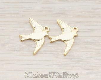 PDT143-MG // Matte Gold Plated Barn Swallow Bird Pendant, 2 Pc