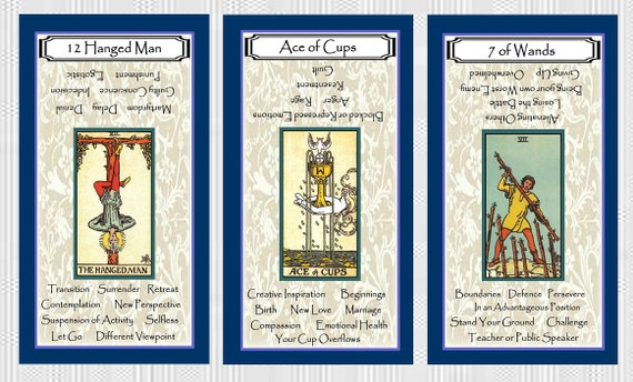 Tarot with Key Words (Navy Blue Border)  Brand New  Self Published