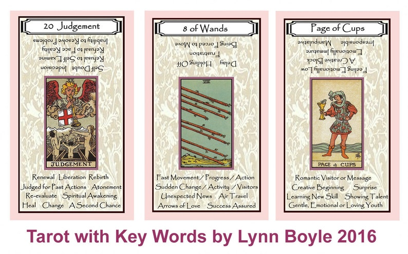 Tarot with Key Words (Blush Pink Border)  Brand New  Self Published
