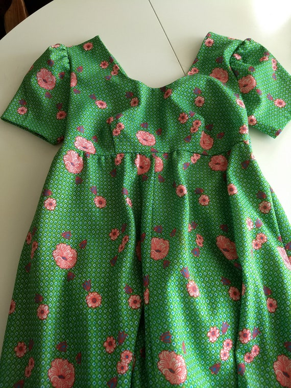 Vintage Empire Waist Dress, Apple Green