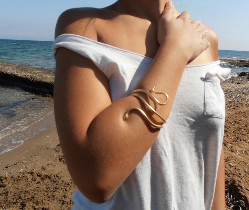 Single Snake Bracelet  /'/'\u00d3fis/'/' Gold Cuff Minimal Gold Bracelet Handmade BRASS metal gold plated jewel