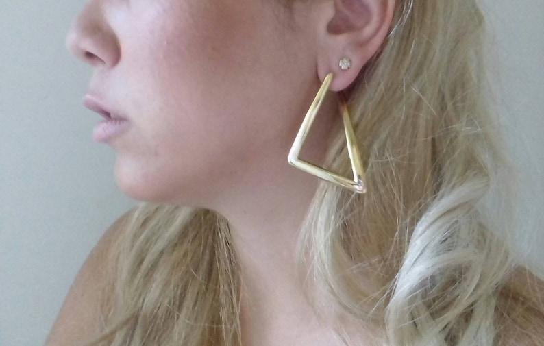 drop gold earrings Minws/'/' BRASS metal gold-plated Earrings,Statement minimal Triangle Arrow Earrings,dangling Gold plated earrings