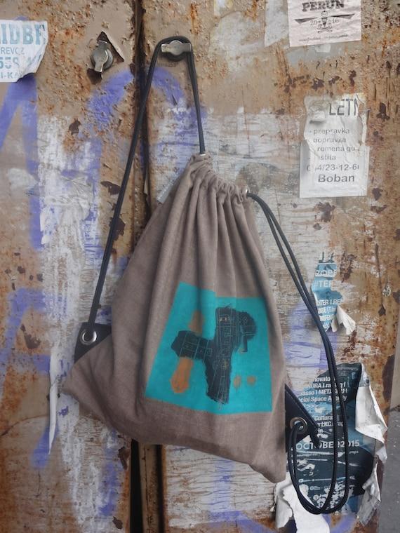 Canvas rucksack Canvas Drawstring Backpack Unique Bag Hand-painted Bag