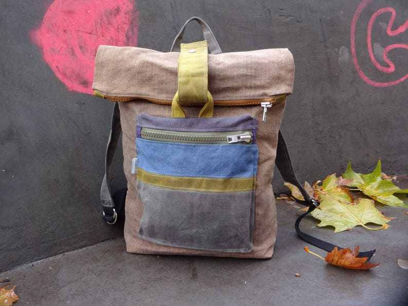 c5fe1369181b Waxed Canvas Backpack Rolltop Casual Style Bag Hipster