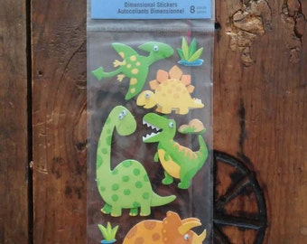 1ecf0b5e24f91 Recollections- Dinosaurs- 8 Dimensional Stickers W  Googley Eyes- Brand New