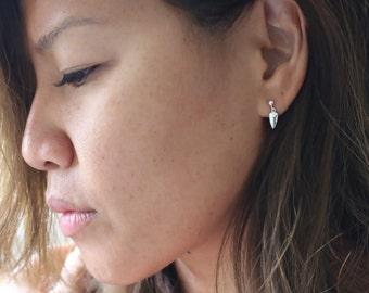 Dainty   Silver Arrowhead   Stud Earrings