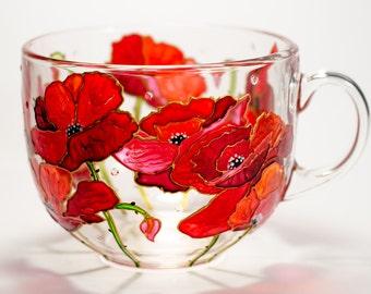 Grandma Gift Red Poppies Mug Personalized Gift for Mom, Flowers Mug Birthday Present