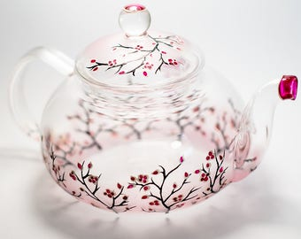 Gift for Tea Lover Glass Teapot Cherry Blossom, Mother's Day Gift Unique Teapot Hand painted Glass Teapot with Infuser