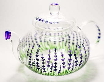 Lavender Teapot, Rustic teapot Hand painted Glass Teapot with Infuser, Botanical gift Unique teapot, Hostess gift Foodie Gift