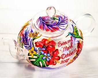 Mariage cadeau idées personnalisées Tropical théière, main théière en verre  peint avec infuseur, fleurs et colibri 55a9e01b36ec