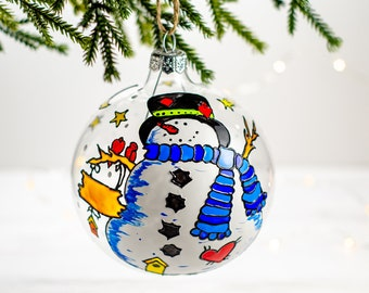 Snowman Christmas bauble white xmas decor plastic white bauble with snowman illustration snowman Xmas tree ornament late eighties
