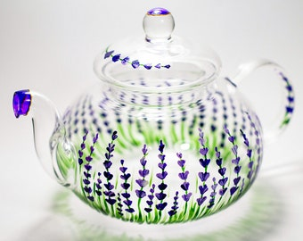 Lavender Teapot Rustic Hand painted Glass Teapot with Infuser Tea Party Favors