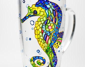 Seahorse Mug Seahorse decor Ocean mug for him Seahorse gift Coffee cu Beach gift Coastal decor