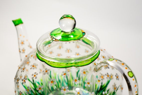 Théière en verre avec infuseur thé bouilloire thé Floral pot   Etsy 9f0708db094f