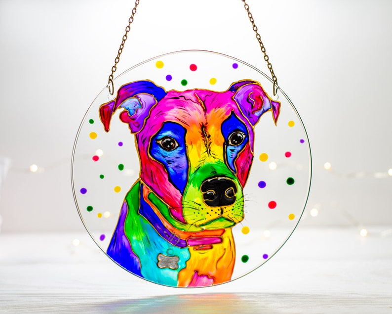 Custom Dog Portrait Stained Glass Panel Pet Memorial Stained Glass Window Hanging  Dog Lover Gift