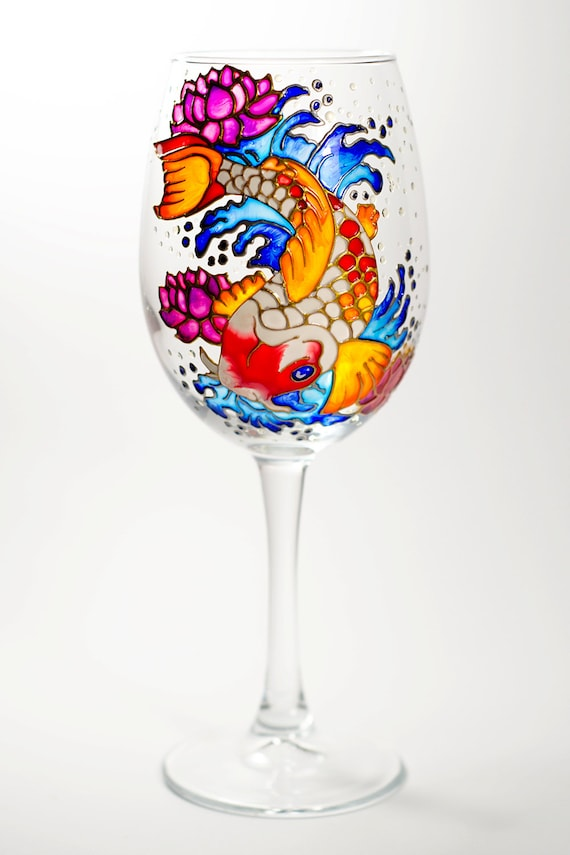 hand painted wine glasses koi fish beach wedding favors etsy