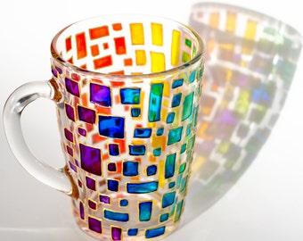 Rainbow Mug Multi colored mug Stained glass cup Colorful mug Mosaic cup Custom Coffee Mugs