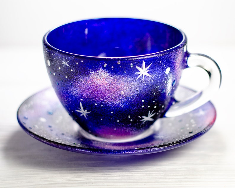 Galaxy Tea Cup and Saucer Set Astrology Celestial Gift Starry image 0