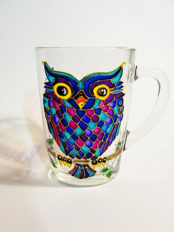 Owl Glass Mug Funny Tea Mug Hand Painted Personalized Gift
