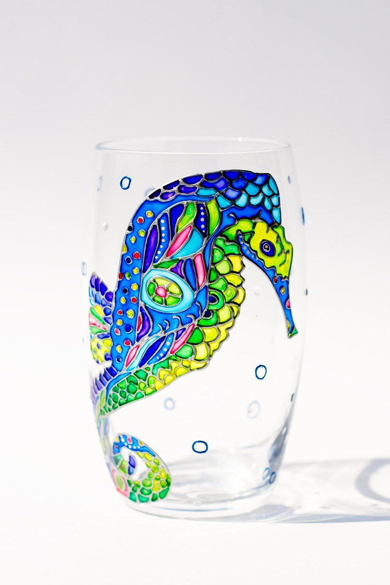 4cdc48a11a5 Ocean Wine Glasses Seahorse Wine Tumbler Summer Bridal Shower | Etsy