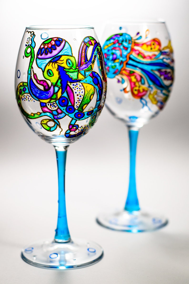 Bridesmaid Glasses is Personalized Wine Glasses Ocean Themed Octopus and Jellyfish Stem Wine Glasses