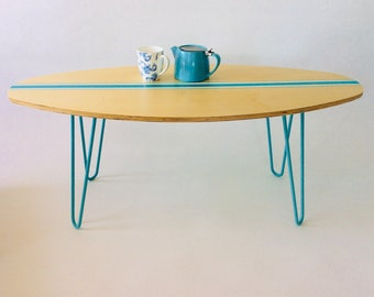 Hairpin leg table - turquoise table - TV stand - surf board table