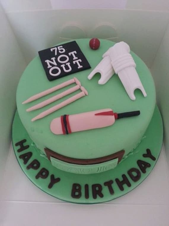 Edible Personlised Cricket Themed Cake Topper