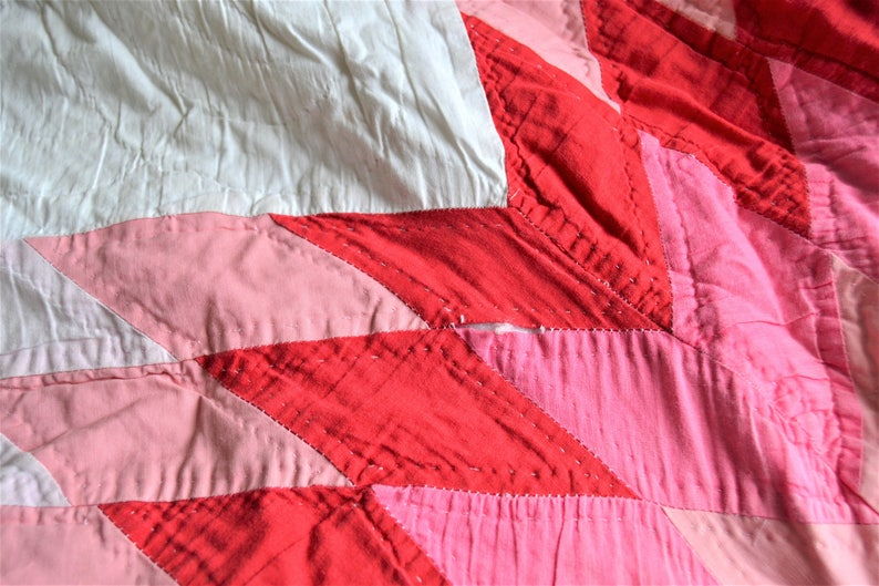 HANDMADE QUILT Queen Size Star Pattern White with Bright Colors Retro Quilt Bedding