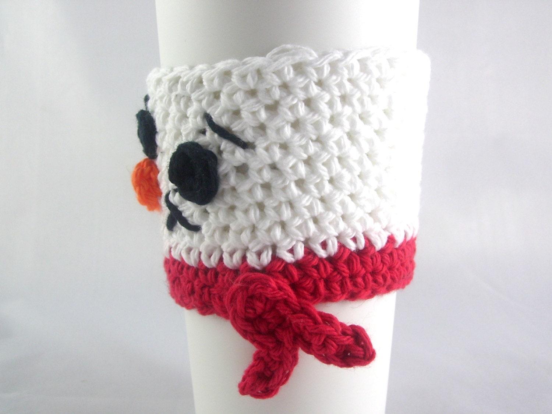 Crochet PATTERN Snowman Travel mug sleeve / Red scarf / | Etsy