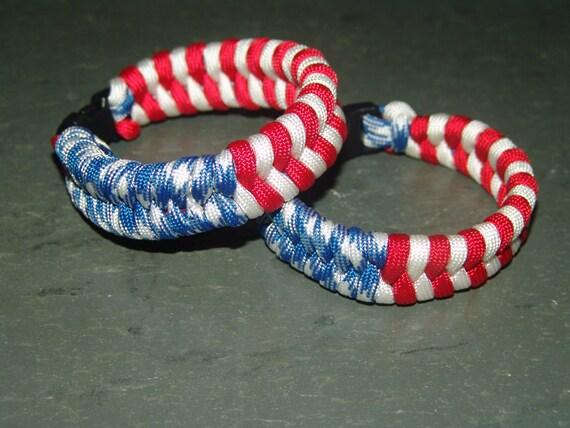 Blanc /& Bleu Tressé Paracord Bracelet Nouveau Drapeau Américain Patriotique Rouge