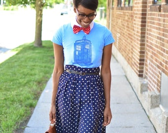 Vintage Navy Blue White Polka Dot Skirt - Extra Small/Small