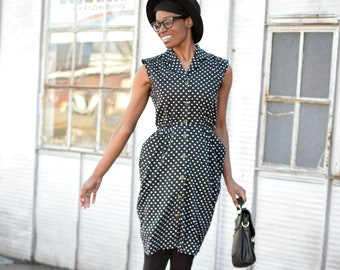 Vintage Black and White Polka Dot Sleeveless Summer/Spring Dress - Size Small/Medium
