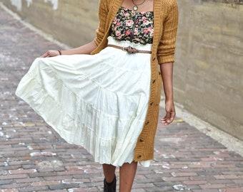 Vintage Vanilla Cream Tiered Prairie Bohemian Skirt - Size Medium