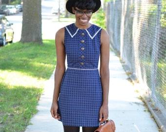 Vintage Sailor Collar Nautical Grid Pattern Dress - Size 6
