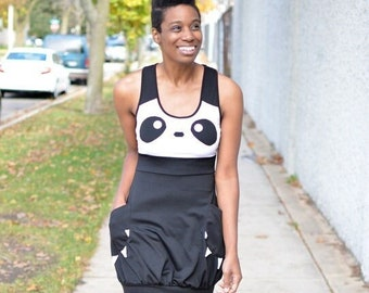 Vintage Black & White Panda Themed Dress with Claw Pockets - Size Small