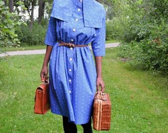 Vintage 50s 60s Puritan Collar Blue Tent Dress (Free Size)