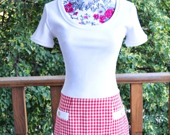 Vintage ABS Red and White Checkered 60s Inspired Mod Dress Size 2