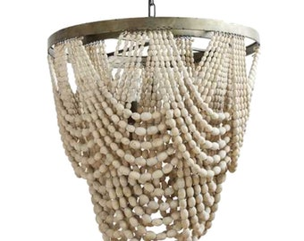Beaded chandelier etsy natural wood beaded chandelier with drapery aligned high designer the kings bay aloadofball Images