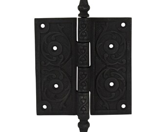 Brown Mini Ceramic Door Knob w Cast Iron Base Old Replica Hardware Pr