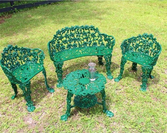 Superbe Grapevine Old Style Garden Patio Furniture Set 2 Chairs   One Bench And  Table