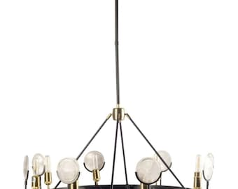 Gas light chandelier etsy round gas light house chandelier with magnify round ribbed glass circle aloadofball Choice Image