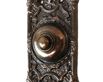 Polished Shiny Brass Door Bell Button Antique Victorian Replica 7.5 Inches Tall