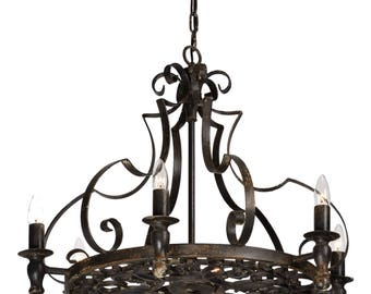 Wrought iron chandelier etsy gothic wrought iron black stunning black chandelier vintage style aloadofball Image collections