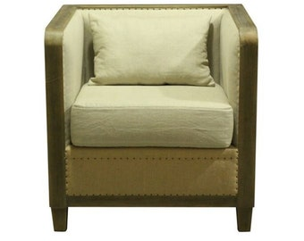 Bon Vintage Style Lincoln End Side Or Club Chair Aged Driftwood Finish Burlap