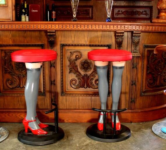 Miraculous Girls Legs Bar Stools High Heels In Stockings Red Vinyl Seat Metal Pair Creativecarmelina Interior Chair Design Creativecarmelinacom